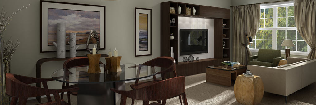 Model open floor plan dining room living room furnished with a table and chairs, couch and TV unit.