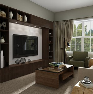 living room with entertainment center, coffee table, and armchair in an ocean county apartment