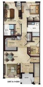 Gardens at Jackson Twenty-One two-bedroom, two-bathroom floor plan with a den