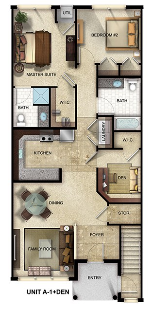 2 Bedroom, 2 Bathroom with den apartment floor plan at The Gardens at Jackson Twenty-One