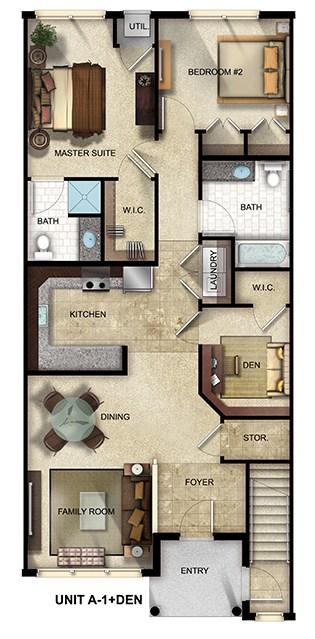 2 Bedroom, 2 Bathroom with den apartment floor plan at The Gardens at Jackson Twenty-One