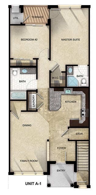 2 Bedroom, 2 Bathroom apartment floor plan at The Gardens at Jackson Twenty-One