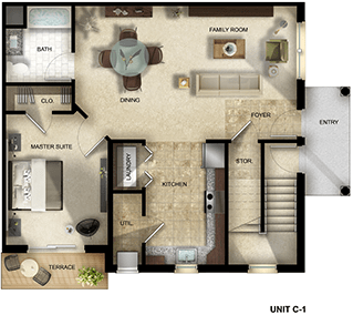The Gardens at Jackson Twenty-One apartment floor plan 1 Bed, 1 Bath