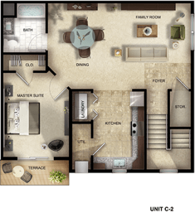 Gardens at Jackson Twenty-One one-bedroom, one-bathroom floor plan