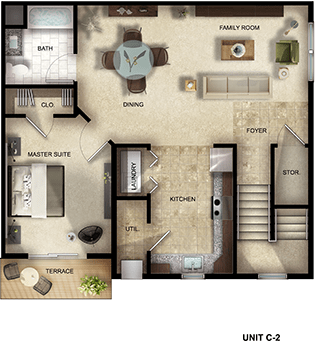 1 Bedroom, 1 Bathroom apartment floor plan at The Gardens at Jackson Twenty-One