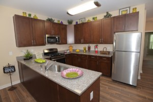 Kitchen with granite countertops and dark wood cabinetry at the Gardens at Jackson Twenty-One